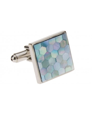 Mother of Pearl Honeycomb Mens Cufflinks - Image1