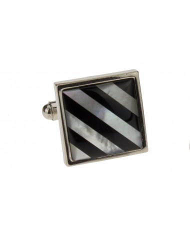 Modern Mother of Pearl & Black Onyx Cuff - Image1