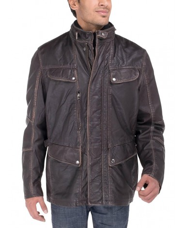 Luciano Natazzi Men's Vintage Look Lamb  - Image1