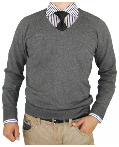 Mens LN V-Neck Cotton Sweater Cashmere T - Image1