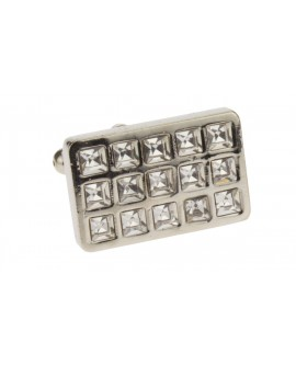 Modern Multi Crystal Mens Cufflinks Silv - Image1