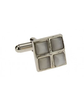 Timeless Convex White Cufflinks Stainles - Image1