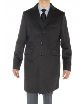 Luciano Natazzi Men's Cashmere Topcoat Modern Ticket Pocket Trench Coat Overcoat (40 US - 50 EU, Charcoal Gray)