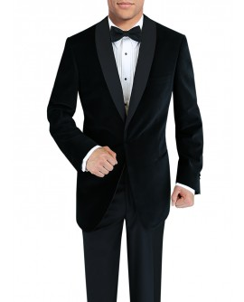 Mens One Button Shawl Lapel Velvet Tuxed - Image1