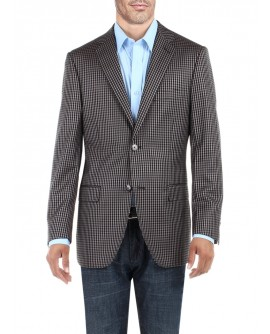 Mens Check Modern Two Button Blazer Trim - Image1