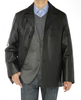 Mens Lambskin Leather Top Coat 3 Button  - Image1