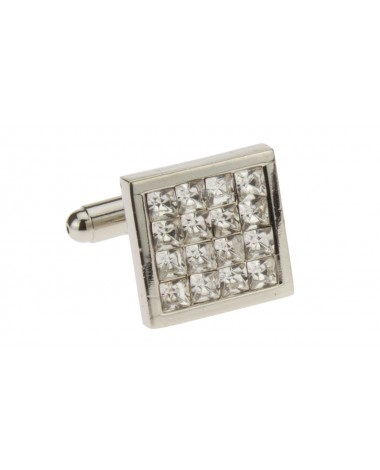 Multi Crystal Mens Cufflinks Silver Poli - Image1