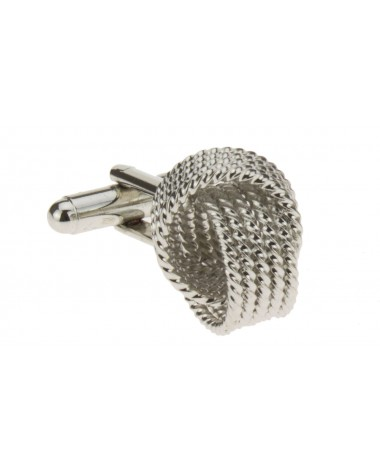 Modern Knot Cufflinks Silver Plated Cuff - Image1