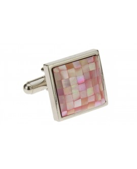 Mother of Pearl Mosaic Pink Cufflinks St - Image1