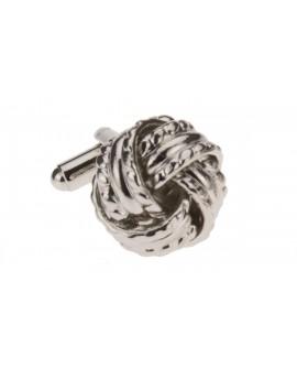 Stylish Love Knot Cufflinks Silver Plate - Image1