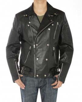 Mens Lambskin Leather Designer Moto Bike - Image1